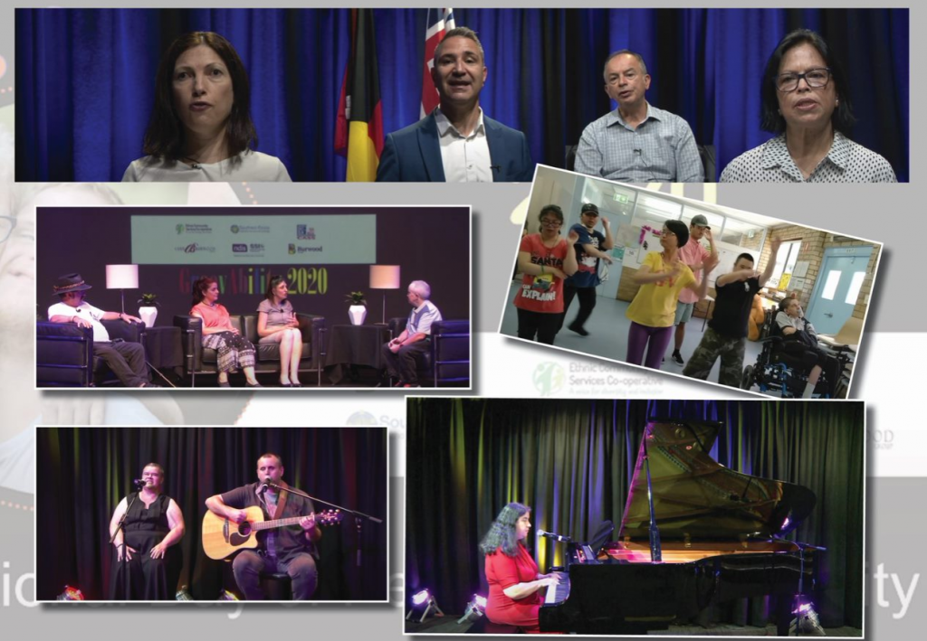 Collage of photos from GroovABILITY 2020, including MC Diana Khoury, guest speakers, panel guests and musicians